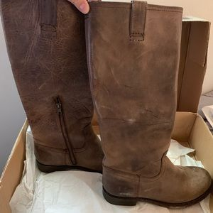Frye Brown Jenna Inside ZIP Boot